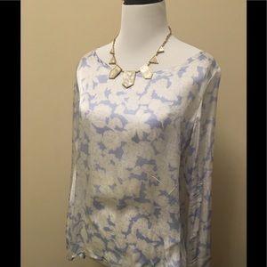 Club Monaco silk blouse size small 4 6 blue white